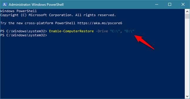 Activare Protecție Sistem pe unitățile C: și D: folosind o comandă în PowerShell