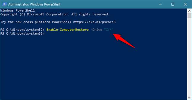 Activare Protecție Sistem pentru unitatea C: folosind o comandă în PowerShell