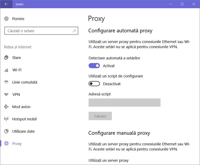 Windows 10, server proxy, utilizare