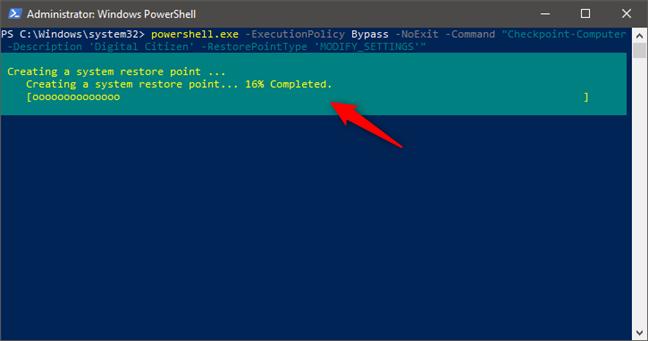 Crearea unui punct de restaurare din PowerShell