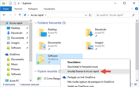 Windows 10, File Explorer, Acces rapid, favorite, recente, frecvente, folder, biblioteca, fixare, scurtatura