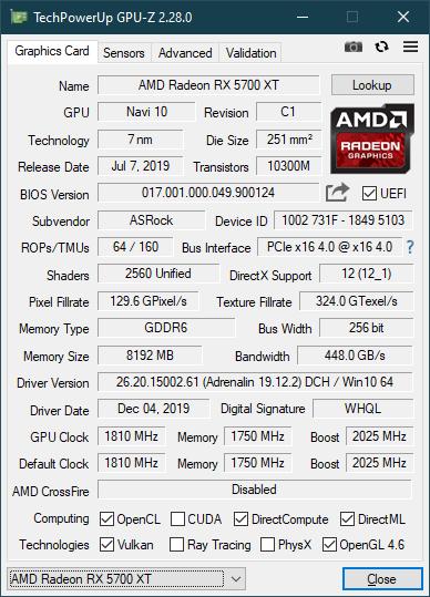 Specificațiile afișate de GPU-Z