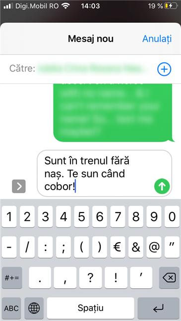 Răspuns rapid cu un conținut text personalizat, pe un iPhone