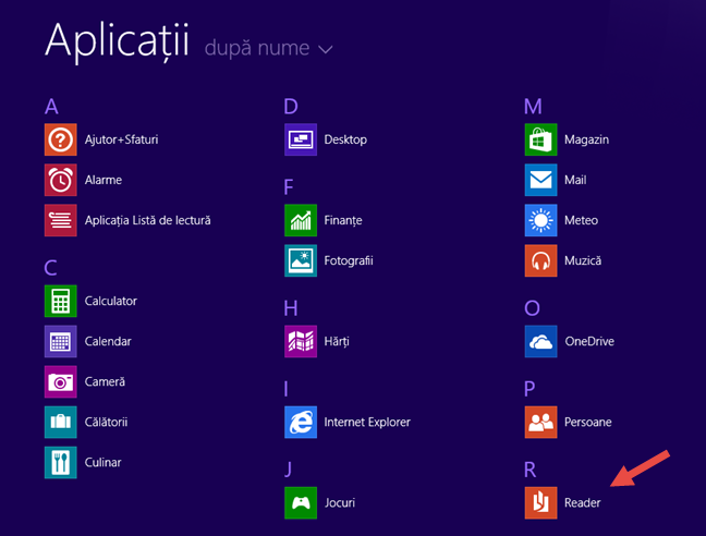 Reader, Windows, aplicatie