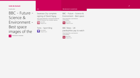Windows 8.1, Lista de lectura, aplicatie, citire, continut, organizare