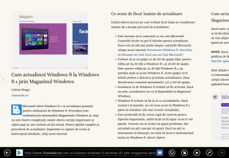 Internet Explorer 11, Windows 8.1, Vizualizarea Citire