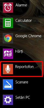 reportofon, inregistrare sunete, Windows 8.1, aplicatie, editare, partajare