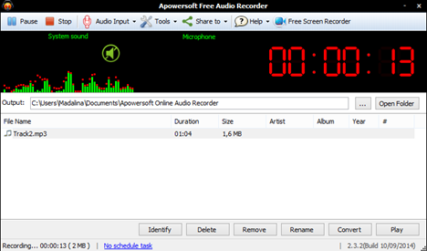 Sound Recorder, alternative, reportofon, sunet, inregistrare, Apowersoft Audio Recorder