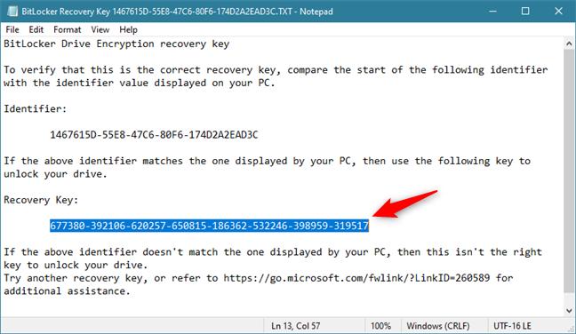 Cheia de recuperare BitLocker salvată într-un fișier text