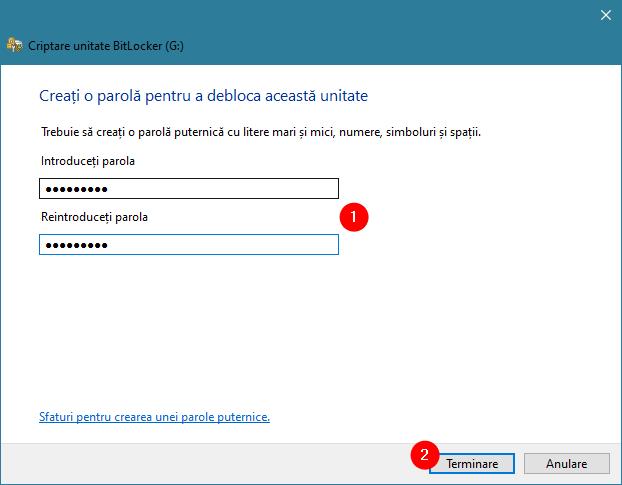 Crearea unei parole BitLocker noi pentru unitatea USB