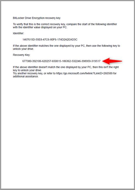 Cheia de recuperare BitLocker imprimată pe o coală de hărtie