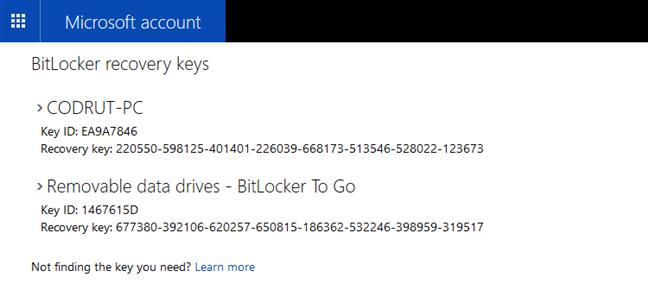 Lista de chei de recuperare BitLocker stocate într-un cont Microsoft