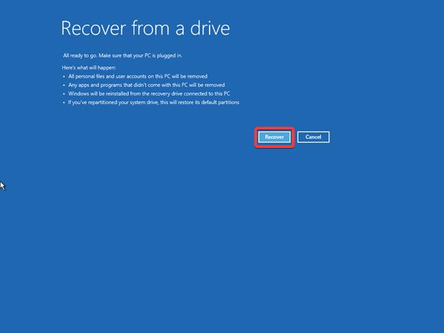 Resetarea Windows 10 de pe o unitate de recuperare
