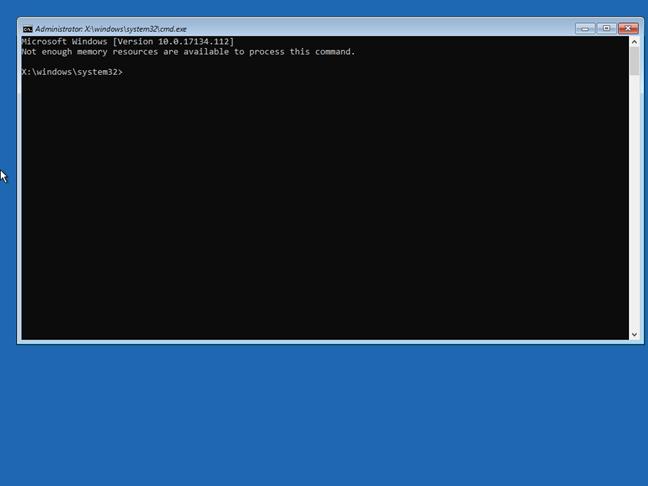 Linia de comandă din unitatea de recuperare pentru Windows 10