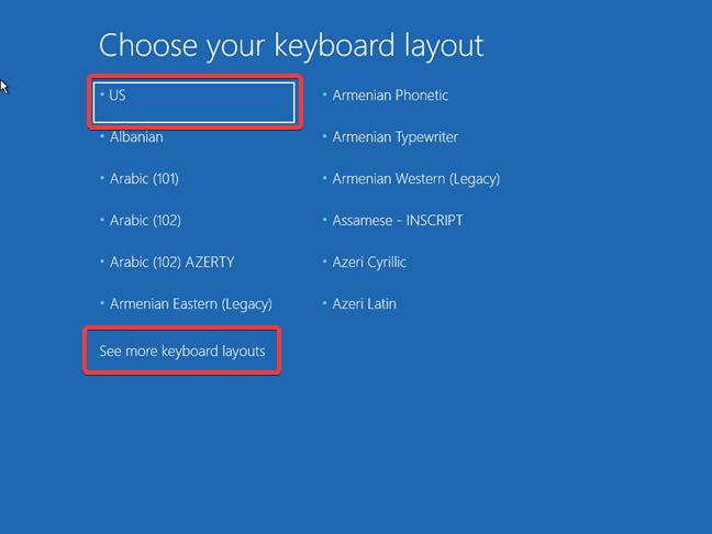 Alege tastatura folosită de unitatea de recuperare pentru Windows 10