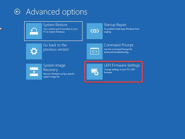 Accesează setările UEFI folosind unitatea de recuperare pentru Windows 10