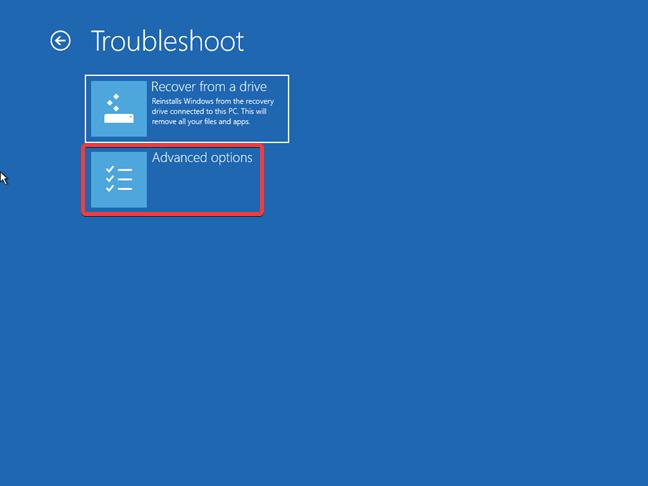 Opțiunile avansate oferite de o unitate de recuperare pentru Windows 10