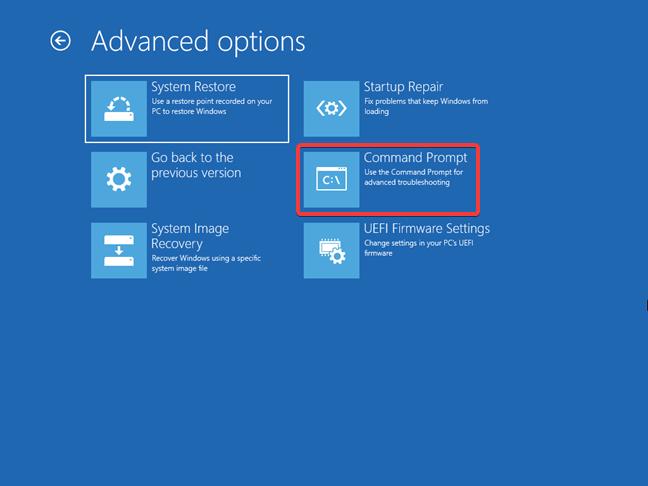 Pornirea Liniei de comandă pentru Windows 10 din unitatea de recuperare