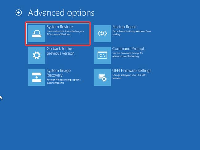 Accesează Protecție Sistem de pe o unitate de recuperare pentru Windows 10