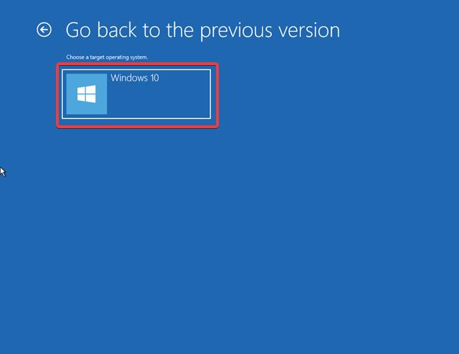 Revenirea la o versiune mai veche de Windows 10