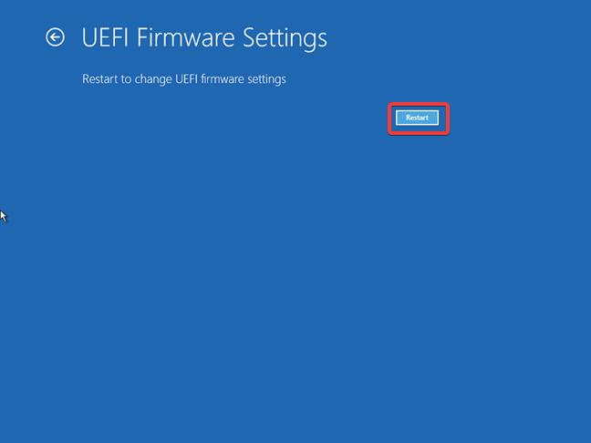 Repornire pentru acces la setările de UEFI