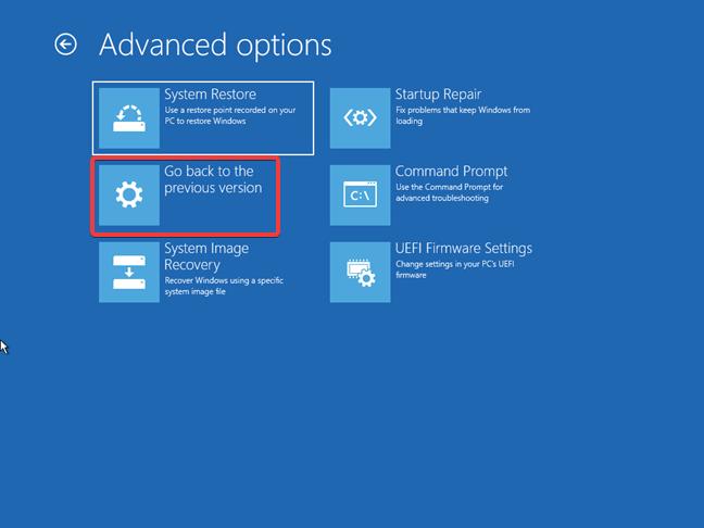 Revenirea la o versiune anterioară de Windows 10