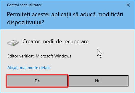 Notificare Control Cont Utilizator pentru aprobarea permisiunii pentru Creatorul de unități media de recuperare