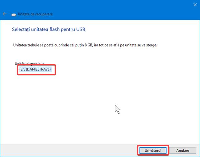 Selectează unitatea de utilizat pentru recuperare în Windows 10