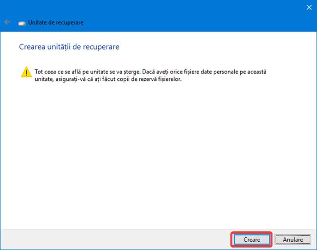 Pornește crearea unității de recuperare în Windows 10