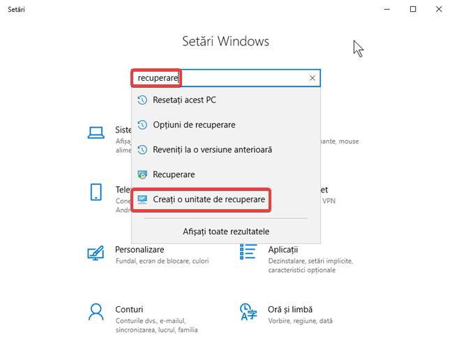 """Cătarea termenului """"recuperare"""" în Setări în Windows 10"""