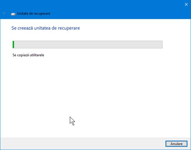 Crearea unității de recuperare în Windows 10