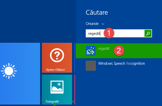 Caută regedit în Windows 8.1