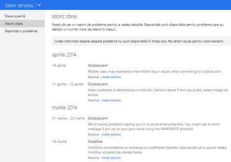 raportare, probleme, servicii, Microsoft, OneDrive, Outlook.com
