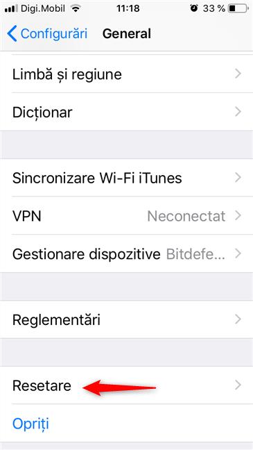 Opțiunea Resetare din Configurările unui iPhone