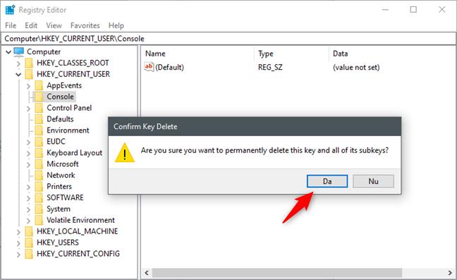 Ștergerea cheii Console din Registrul Windows resetează CMD la culorile standard