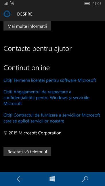 Windows 10 Mobile, reseteaza, setari, fabrica, initiale, Microsoft, Lumia
