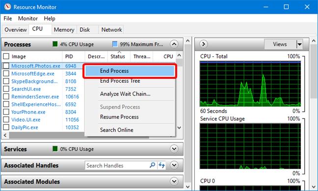 End Process (oprește proces) în Resource Monitor