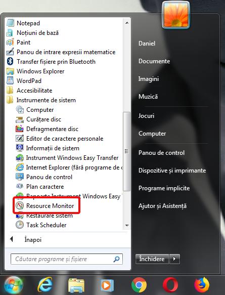 Resource Monitor în Meniul Start din Windows 7