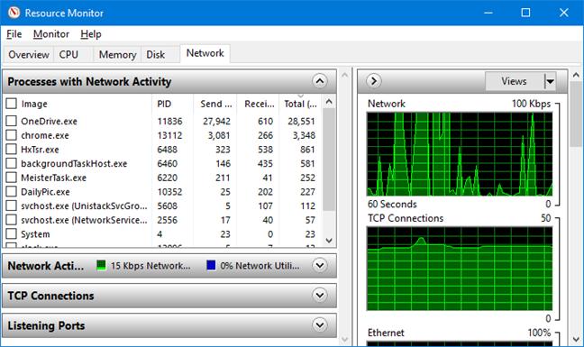 Fila Network (rețea) în Resource Monitor