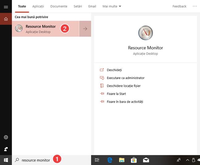 Caută Resource Monitor în Windows 10