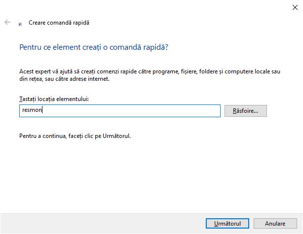 Creează o comandă rapidă pentru Resource Monitor