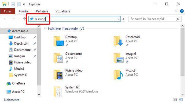Deschide Resource Monitor în File Explorer