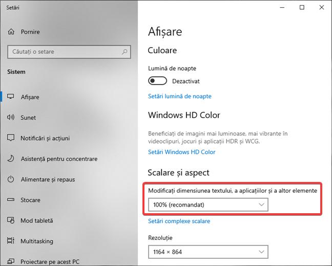 Schimbă dimensiunea textului, a aplicațiilor și a altor elemente în Windows 10