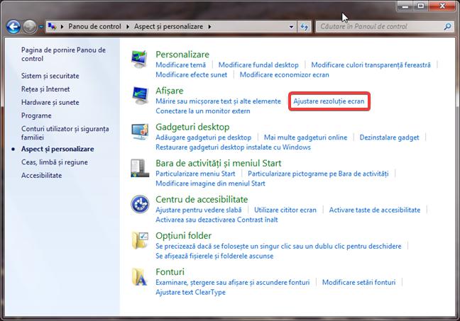 Link-ul pentru Ajustare rezoluție ecran în Windows 7