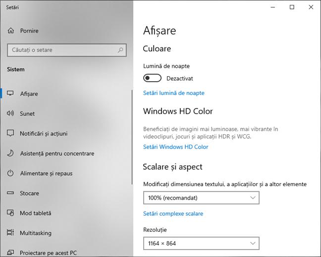 Setări afișare în Windows 10