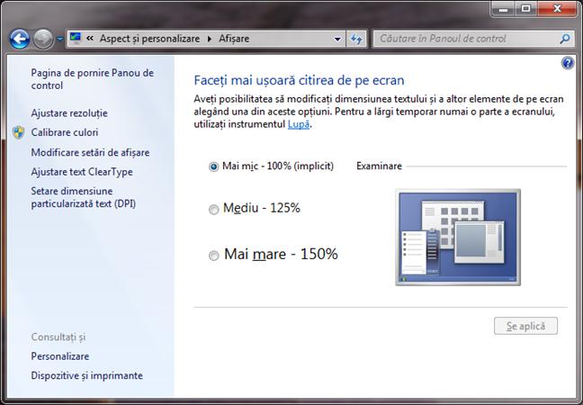 Faceți mai ușoară citirea pe ecran în Windows 7