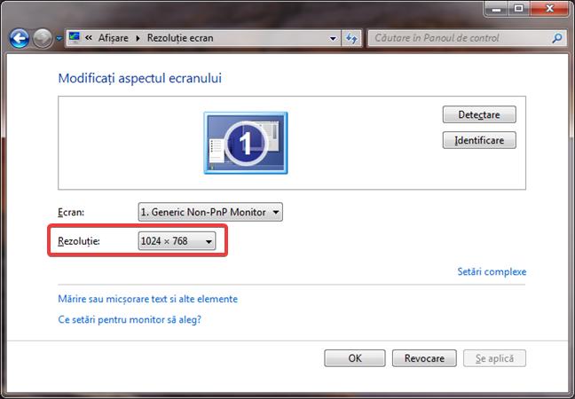 Schimbarea rezoluției ecranului în Windows 7