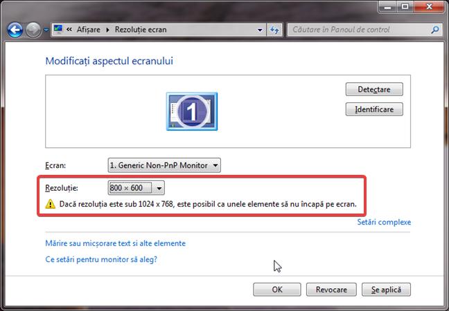 Avertizarea de rezoluție mică în Windows 7