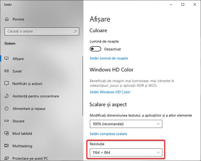 Rezoluția în setările de afișare ale Windows 10