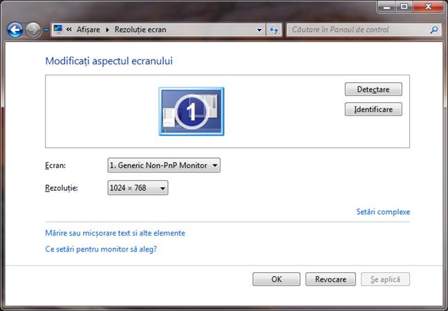 Fereastra Rezoluție ecran în Windows 7